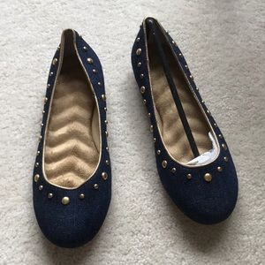 NEW denim and gold studs flats